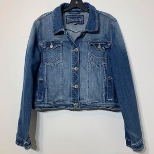 EUC Maurices Button Front Cropped Denim Jacket SZ1